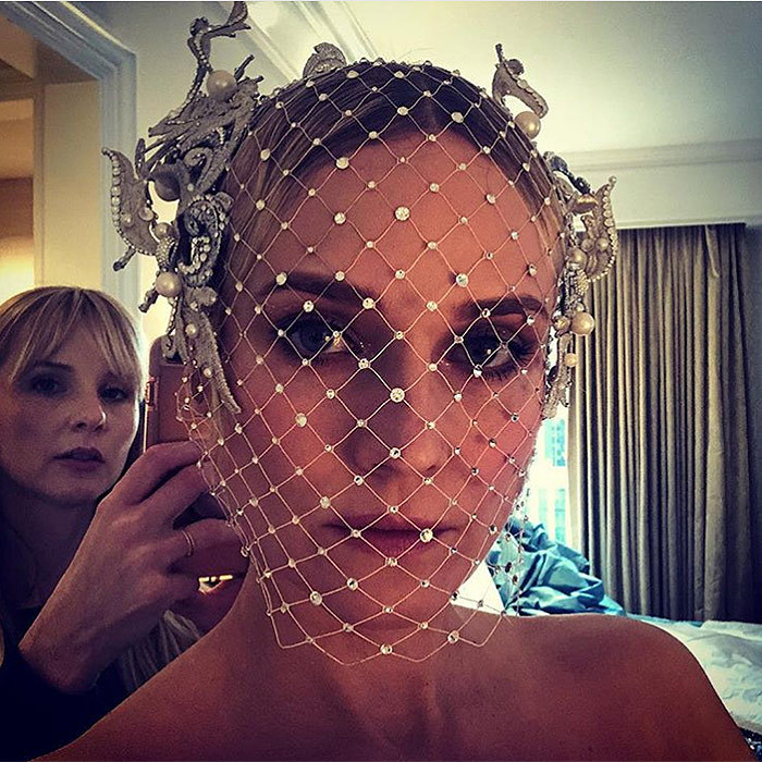 "Diane Kruger shared a behind-the-scenes close-up of her amazing Philip Treacy cage veil. ""Ready or not ♥️ @bridgetbragerhair ♥️ PHILIP TREACY !!!!!!!"" she captioned the pic. 