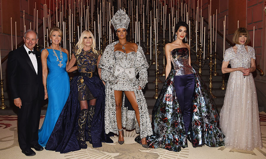 The hosts with the most! A glamorous line-up featuring, right to left, Anna Wintour, Amal Clooney, Rihanna, Donatella Versace, Christine Schwarzman and  Stephen A. Schwarzman.