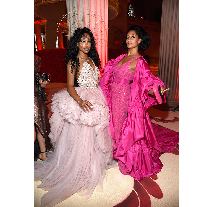 SZA and Tracee Ellis Ross were both pretty in pink in their frothy gowns at the cocktail gathering inside the Met Gala.