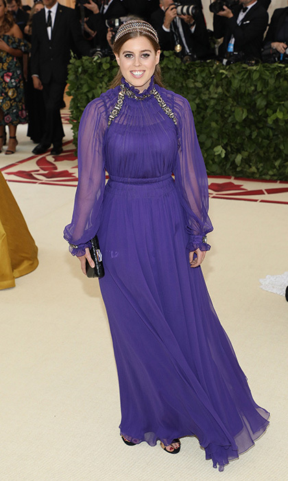 Princess Beatrice of York looked stunning in floaty Alberta Ferretti at the 'Heavenly Bodies: Fashion & the Catholic Imagination' themed Costume Institute Benefit at New York City's Metropolitan Museum of Art. 