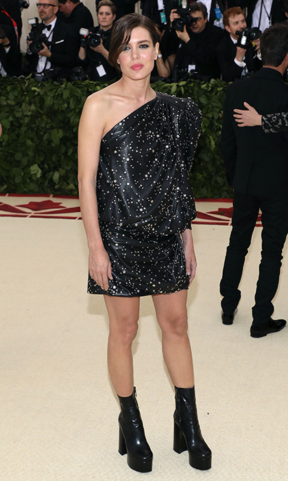 Charlotte Casiraghi also graced the 'Heavenly Bodies' Met Gala, wearing a one-shouldered LBD by Saint Laurent and platform ankle boots. 