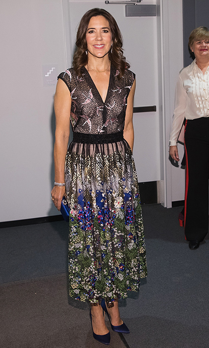 Crown Princess Mary of Denmark showed she's also a fan of nature motifs in a floral and bird-print dress worn to a VIP bash at the Nordic Museum, kicking off a US-wide cultural campaign.