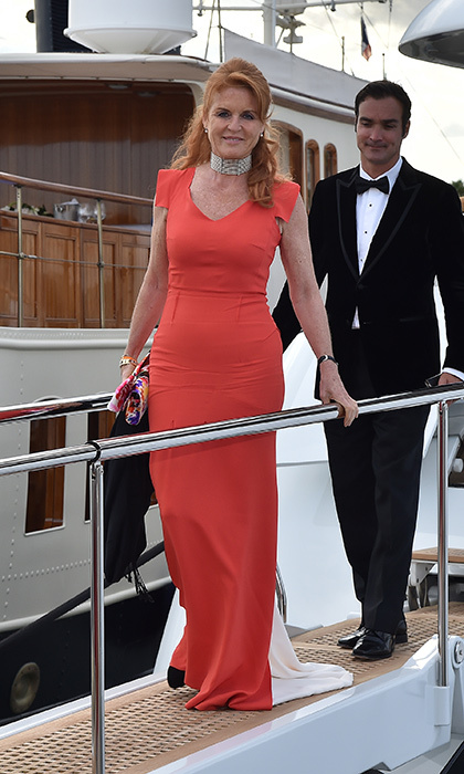Sarah, Duchess of York was spotted stepping off a yacht with Manuel Fernandez during the 68th annual Cannes Film Festival in 2015.