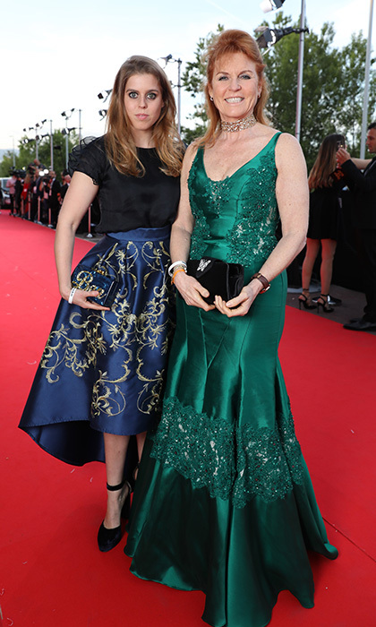 Sarah, Duchess of York and daughter Princess Beatrice wore complementing jeweled hues for the Fashion for Relief event during the 70th annual Cannes Film Festival at Aeroport Cannes Mandelieu in 2017.