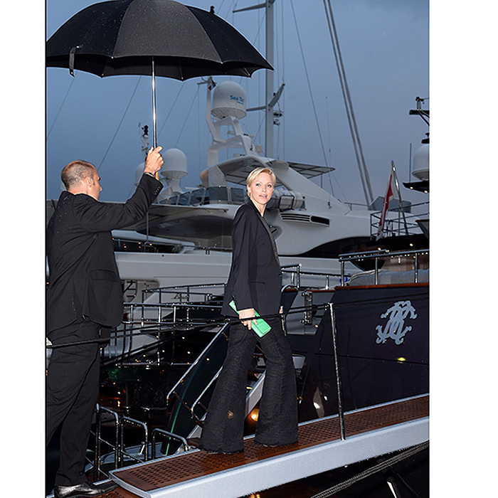 Cannes is the place to be, rain or shine! Princess Charlene of Monaco steps on board for the Roberto Cavalli Yacht Party during the 66th Annual Cannes Film Festival in 2013. 