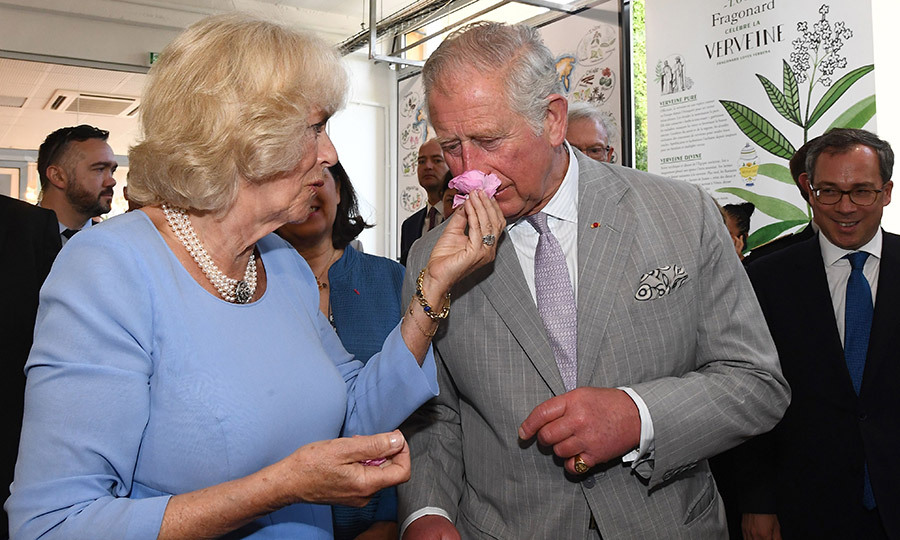 Camilla, the Duchess of Cornwall gave Prince Charles a chance to stop and smell the roses – and a host of other fragrant blooms – during a visit to the Parfumerie Fragonard laboratory plant in Eze, near Nice in southern France, on May 7.