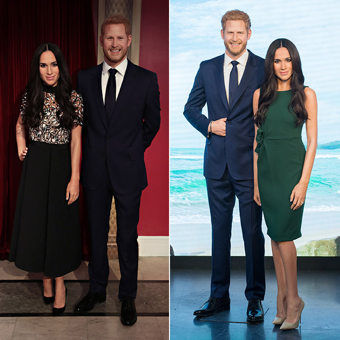 Talk about transatlantic twinning! Madame Tussauds Wax Museums on both sides of the pond are displaying figures of royal bride and groom Prince Harry and Meghan Markle. Madame Tussauds New York revealed their first ever Meghan Markle figure – wearing the Self-Portait look from her lunch date with the Queen, left –  while the London museum debuted their own version, for which the statue is wearing Meghan's green Parosh engagement day look. 