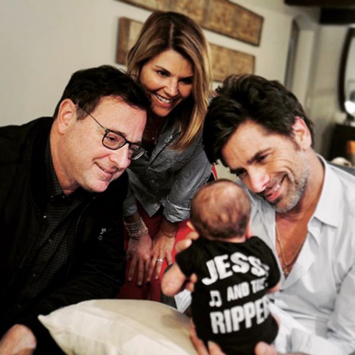 "John Stamos and his son Billy had two very special visitors. Bob Saget and Lori Loughlin dropped in to meet the newest <i>Full House</i> member. The proud dad, who will forever be Uncle Jesse, shared the photo with the caption: ""The Tin Man, Dorothy and The Scarecrow say hi to the cutest of Munchkins. #BillyandtheRippers""