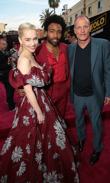 Emilia Clarke had a ball(gown) with Donald Glover and Woody Harrelson at the <i>Solo: A Star Wars Story</i> in L.A.