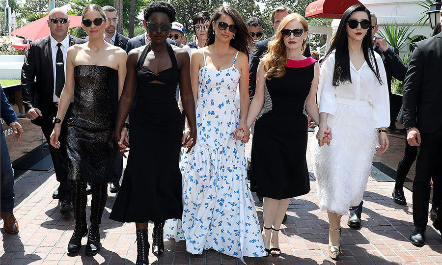 "Do we have a Cannes ""Fab Five"" on our hands? Marion Cotillard, Lupita Nyong'o, Penélope Cruz, Jessica Chastain and Fan BingBing gave us major girl squad envy while heading to a cocktail party for their film <i>355</i>.
