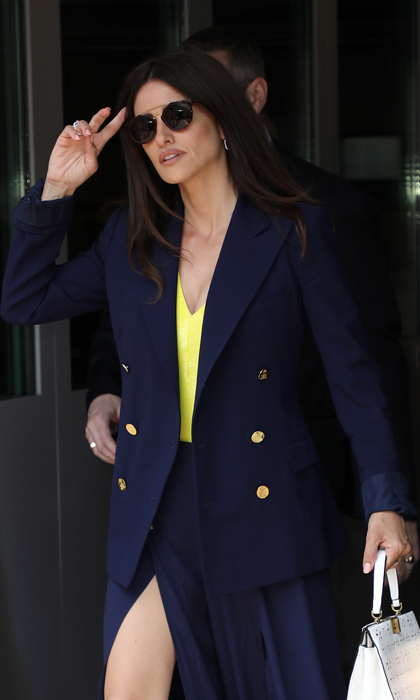 Penélope Cruz stopped by the Cannes main tent in the perfect nautical-inspired Ralph Lauren look. 