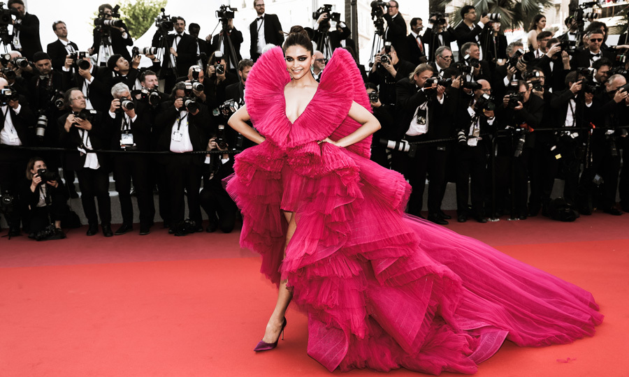 Deepika Padukone made a statement on the <i>Ash is Purest White</i> Cannes red carpet in a magenta gown by Ashi Studio.