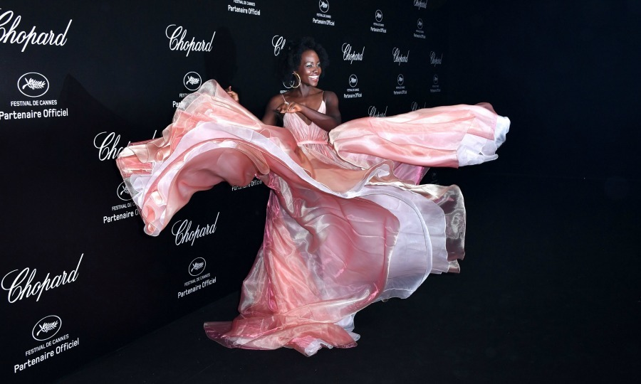 Take a twirl! Mexican-Kenyan actress Lupita Nyong'o flaunted a grand Prada dress while walking the party carpet on May 11.