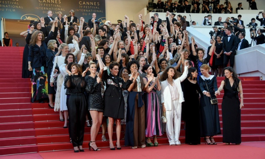 """On these steps today stand 82 women representing the number of female directors who have climbed these stairs since the first edition of the Cannes Film Festival in 1946,"" Cate said during the event. ""In the same period 1688 male directors have climbed these very same stairs. In the 71 years of this world-renowned festival there have been 12 female heads of its juries. The prestigious Palme d'Or has been bestowed upon 71 male directors – too numerous to mention by name – but only two women – Jane Campion, who is with us in spirit, and Agnès Varda who stands with us today,"" She was joined by Agnes to continue her statement.