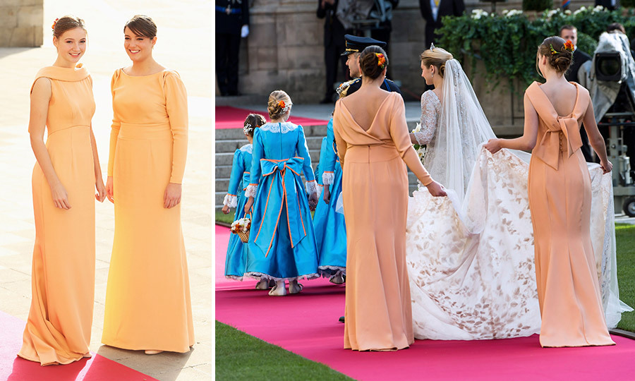 For the autumn ceremony, held at the Cathedral of our Lady of Luxembourg in October 2012, the two bridesmaids wore the same colour but different silhouettes – on a long-sleeved gown with puffed sleeves and a draped cowl back, the other sleeveless with a bateau collar and bow detail on the back. 