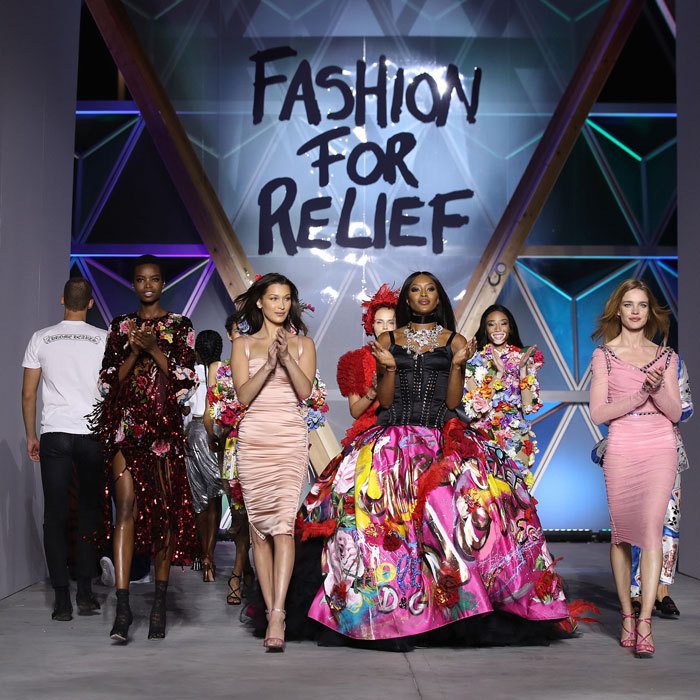 Once again, Naomi Campbell and her supermodel friends walked the runway in the Fashion for Relief show during the festival. The veteran had support from Bella Hadid and Natalia Vodianova during the event that was themed Race to Equality.