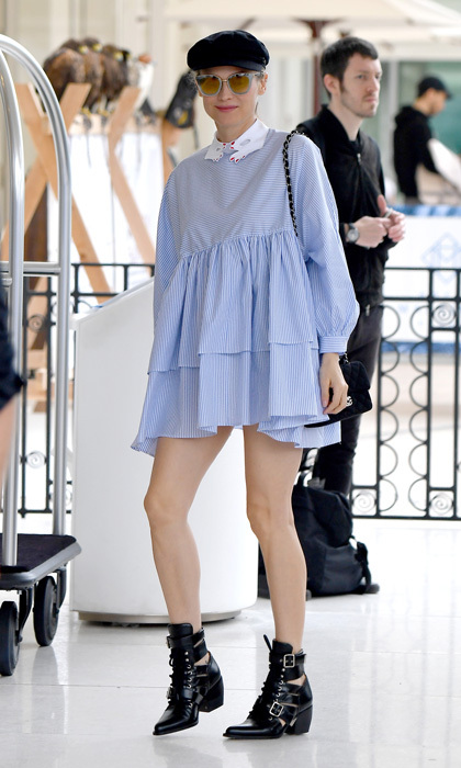 Diane Kruger was perfectly Parisian in a baby doll dress heading into the iconic Martinez hotel.