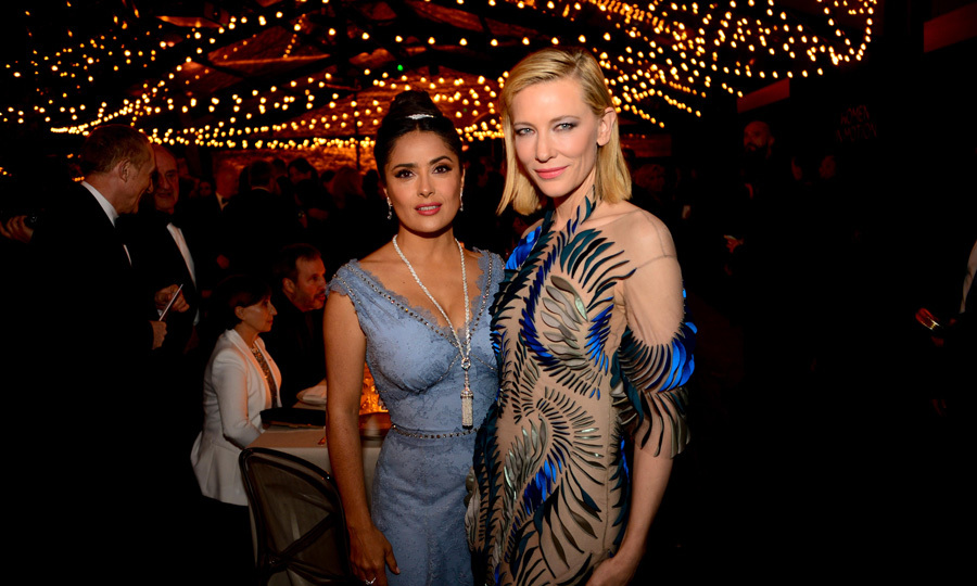 Salma Hayek and Cate Blanchett coordinated in blue for the Women in Motion Awards dinner in Cannes.