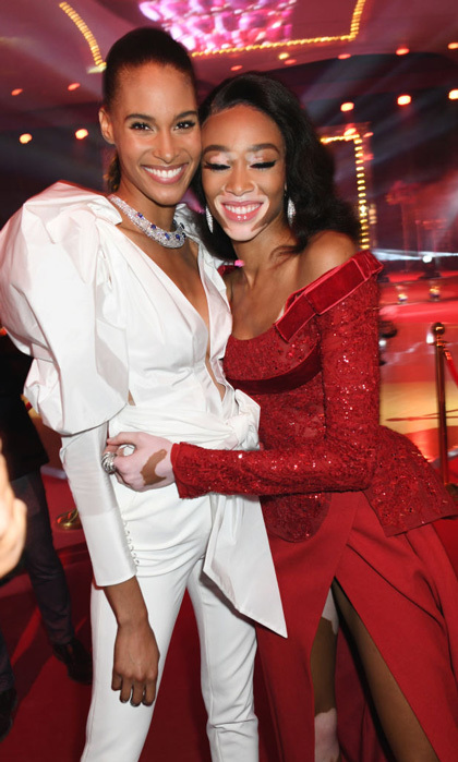 Christmas came early when Cindy Bruna and Winnie Harlow complemented each other in white and red at the de Grisogono party at Villa des Oliviers.
