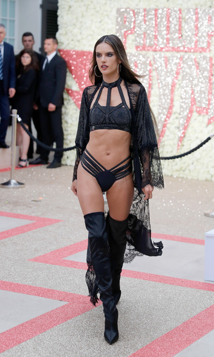 Alessandra Ambrosio took a break from the film festival circuit and stripped down for the Philipp Plein 'Dynasty' Women's & Men's Resort 2019 Fashion Show.