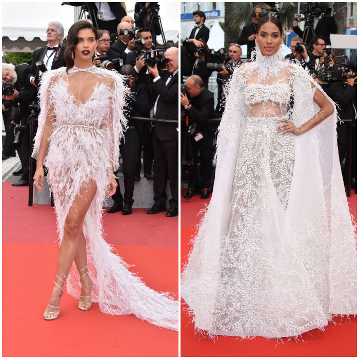 Sara Sampaio and Cindy Bruna gave us major bridal inspo on two separate red carpets. The Victoria's Secret Angel attended the <i>Solo: A Star Wars Story</i> in a stunning feathered gown by Ralph & Russo, the design duo rumored to be creating Meghan Markle's royal wedding dress. Cindy Bruna looked angelic in a different feathered dress complete with a cape on the <i>Burning</i> premiere carpet.