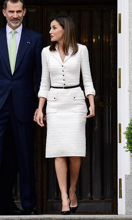 Queen Letizia of Spain was suited up in cream colored tweed for a lunch at Zarzuela Palace in Madrid.