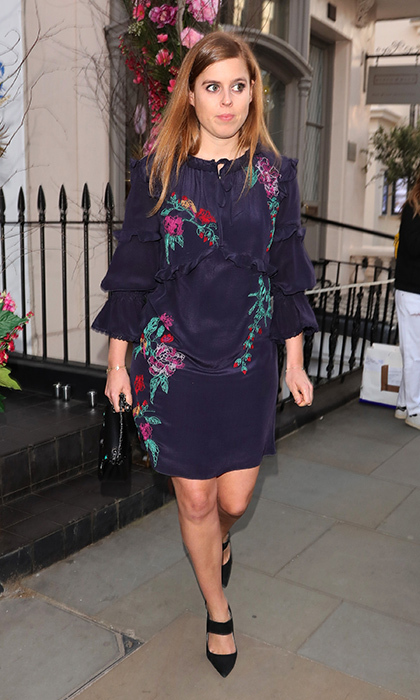Princess Beatrice of York – whose sister Princess Eugenie and cousin Prince Harry are both marrying soon – looked stylish in a purple floral dress as she left the Beulah London store in Chelsea on May 16.