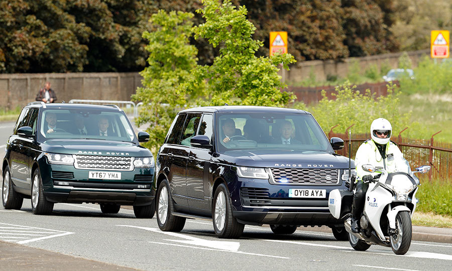 The royal couple arrived at Windsor Castle in a convoy of Range Rovers escorted by police motorcycle outriders. The couple were expected to spend the night before the royal wedding apart – Prince Harry will stay at the Dorchester Collection's Coworth Park with his best man and older brother Prince William, while Meghan and her mom Doria will sleep at Cliveden House Hotel.