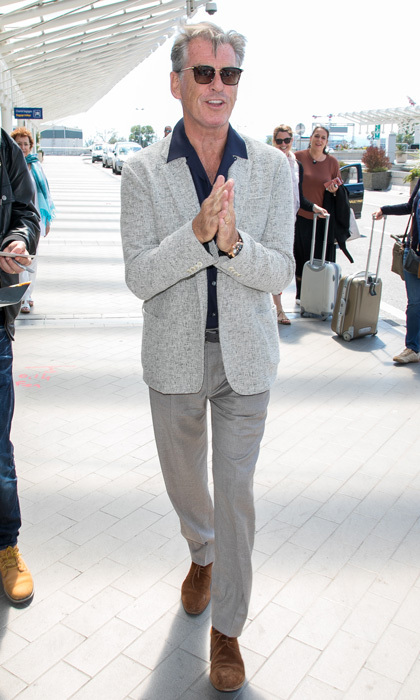 Pierce Brosnan was James Bond-cool arriving to the Nice Airport.