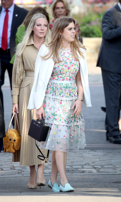 After attending her cousin Prince Harry's wedding, Prince Andrew's oldest daughter stepped out with the Queen for the Chelsea Flower Show. This time, Princess Beatrice left the heels at home and opted for flats that complemented her floral dress.