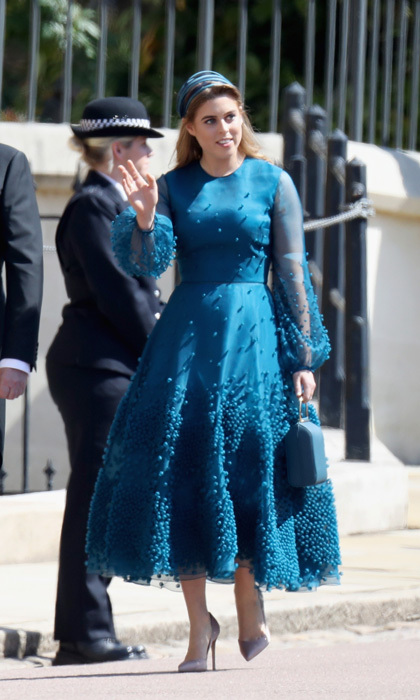 Princess Beatrice knew exactly how to make an entrance in her teal, beaded Roksanda dress to Prince Harry and Meghan Markle's wedding. The stylish royal took a nod from her cousin-in-law Kate and wore Gianvito Rossi pumps. 