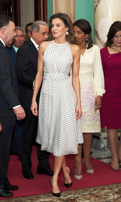 Queen Letizia wore the perfect polkadot dress during her two-day visit to the Dominican Republic where she met with locals and took meetings at the Presidential Palace.