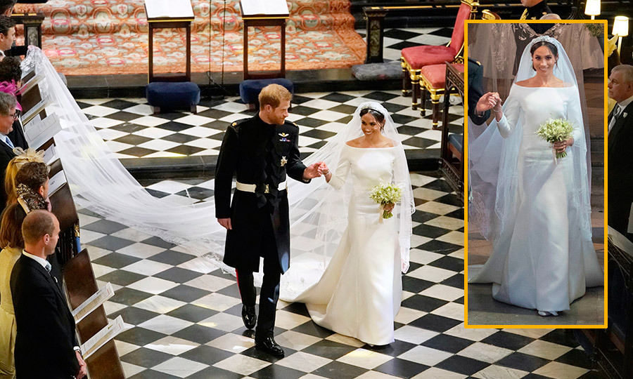 "For the royal wedding, Meghan looked like a true princess bride in a an ivory gown by Clare Waight Keller for Givenchy. The timeless wedding dress features clean, simple lines, a bateau neckline and three-quarter length sleeves. Of the spectacular five-meter long veil, the designer revealed, ""The delicate floral beauty of the veil was a vision Meghan and I shared, a special gesture embracing the commonwealth flora, ascending the circumference of the silk tulle.""