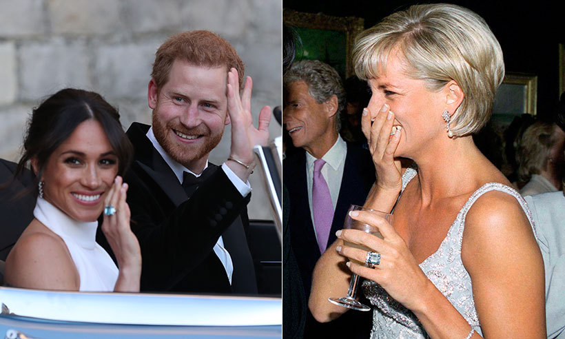 For the Frogmore House reception, the bride also paid tribute to her mother-in-law Princess Diana by wearing a beautiful ring that once belonged to the late royal. Meghan accessorised her Stella McCartney dress with Cartier earrings and Diana's emerald cut aquamarine ring, which was likely to be a gift from Harry.