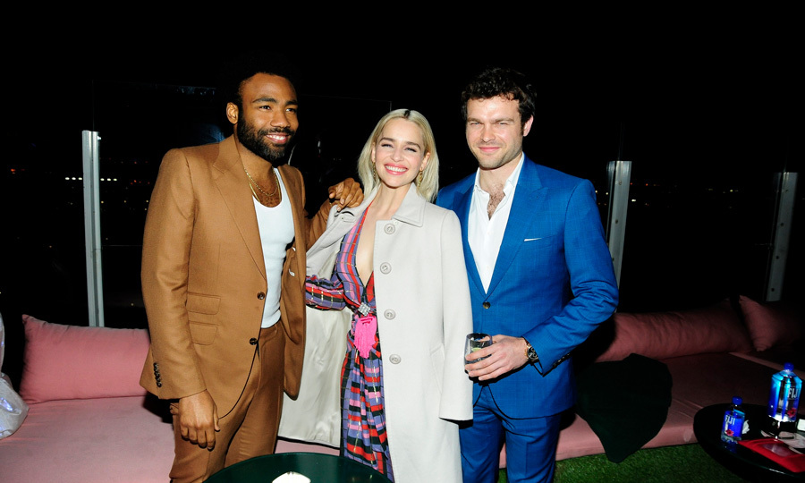 The fashion force was strong for Donald Glover, Emilia Clarke and Alden Ehrenreich at the <i>Solo: A Star Wars Story</i> screening with Cinema Society and Fiji Water in NYC.