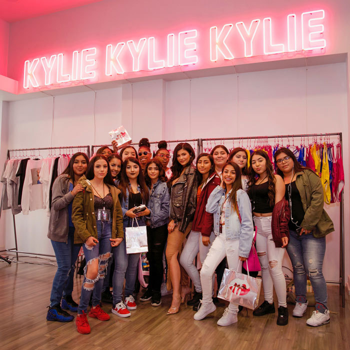 Kylie Jenner opened the doors to her pop-up shop to students from BUILD, an organization that empowers teens to develop and build small businesses.