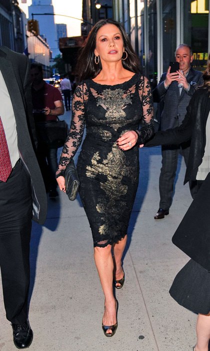Catherine Zeta-Jones made her way through a crowded NYC street in a LBD on her way to a discussion with the SAF-AFTRA Foundation about <i>Cocaine Godmother</i>.