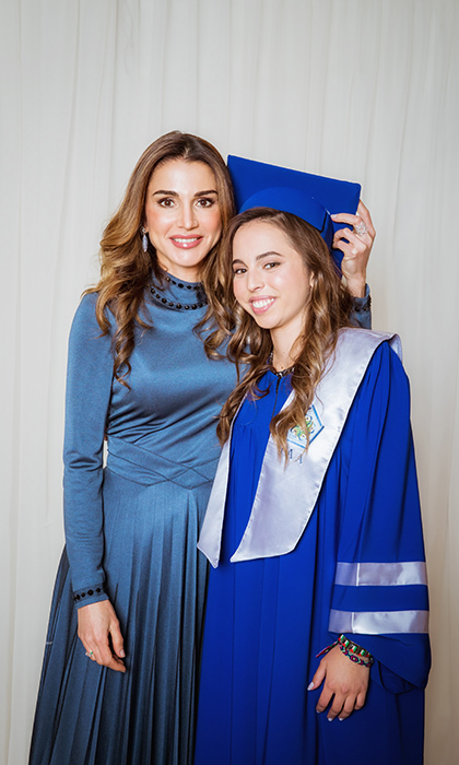 "Queen Rania of Jordan celebrated 17-year-old daughter Princess Salma's graduation from the International Academy in Amman. ""All grown up but you will never outgrow my heart… Incredibly proud of you, today, and every day,"" the Jordanian queen wrote on Instagram.