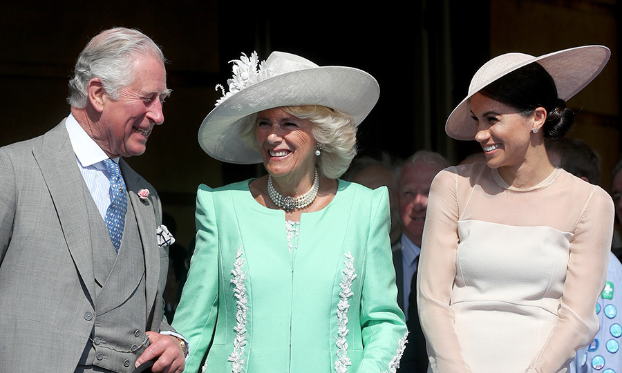 Days after walking Meghan Markle down the aisle, Prince Charles shared a laugh with his new daughter-in-law and wife Camilla, the Duchess of Cornwall, at the Prince of Wales' 70th Birthday Patronage Celebration held at Buckingham Palace on May 22.