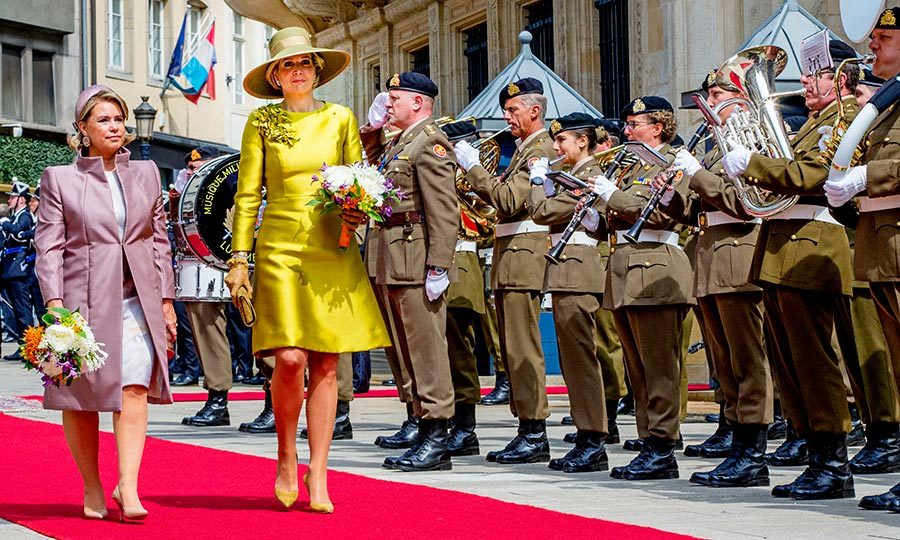 Queen Maxima of The Netherlands is welcomed to Luxembourg by Grand Duchess Maria Teresa as the Dutch monarch and his wife embarked on a three-day state visit on May 23. 