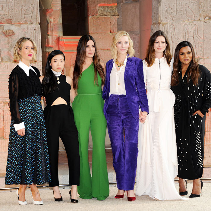 The ladies of <i>Ocean's 8</i>  Sarah Paulson, Awkwafina, Sandra Bullock, Cate Blanchett, Anne Hathaway and Mindy Kaling returned to the scene of the crime — the Metropolitan Museum of Art — for the worldwide photocall for their movie.  