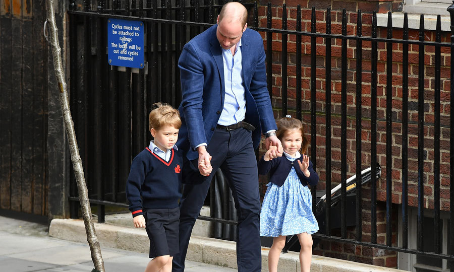 William brought his two oldest children to the hospital to meet their baby brother Louis on April 23, 2018. Charlotte, who almost was three at the time, shyly waved to the waiting crowds as George, who will turn five in July, kept a straight face and looked forward.