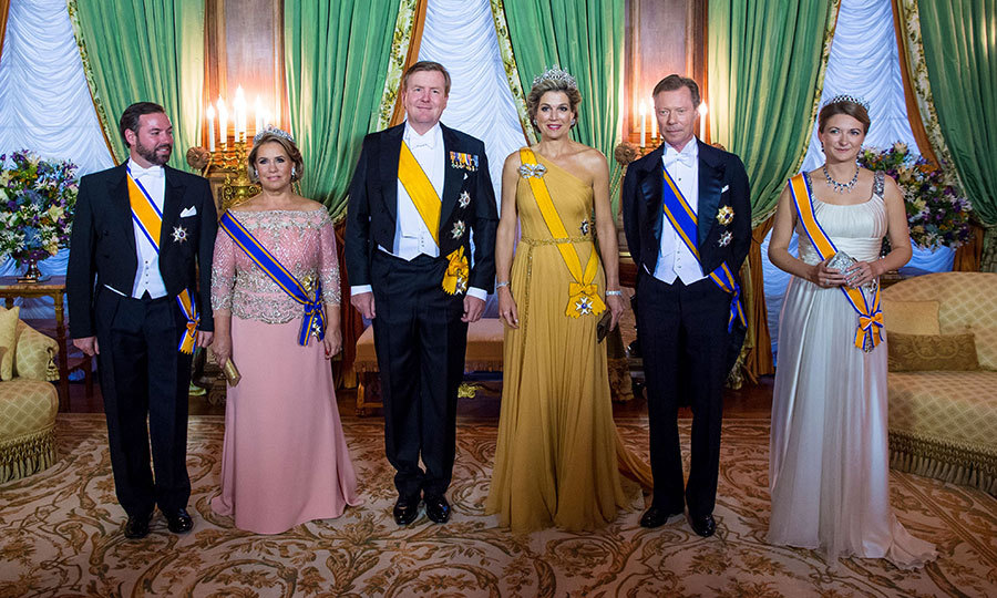 The royal photo lineup, from left to right: Grand Duke Henri's heir, Hereditary Grand Duke Guillaume; Grand Duchess Maria Teresa; King Willem-Alexander and Queen Maxima of the Netherlands; Grand Duke Henri and his daughter-in-law Hereditary Grand Duchess Stéphanie. 