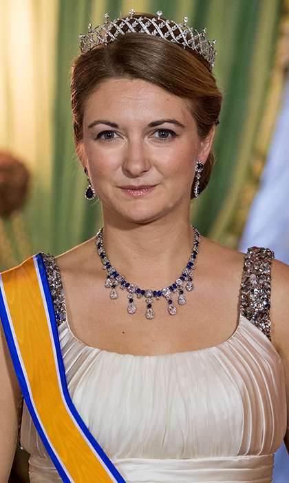 The Grand Duchess' daughter-in-law Princess Stéphanie wore the Chaumet tiara, which has a lattice motif and diamond tipped prongs. The headpiece, which also has detachable pearls, can also be worn as a choker.