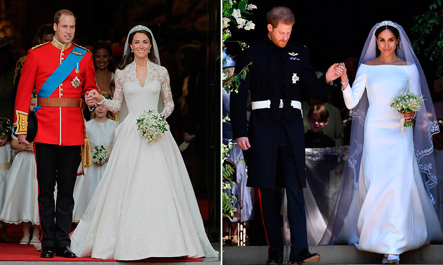 It's like déjà vu! In one iconic royal wedding photo, Prince William, Duke of Cambridge and his new wife Catherine, Duchess of Cambridge, are pictured leaving Westminster Abbey in London after their wedding ceremony on April 29, 2011. On the right, Prince Harry, Duke of Sussex, and his new wife the Duchess of Sussex emerge into the sunlight after their wedding at Windsor Castle on May 19, 2018. 