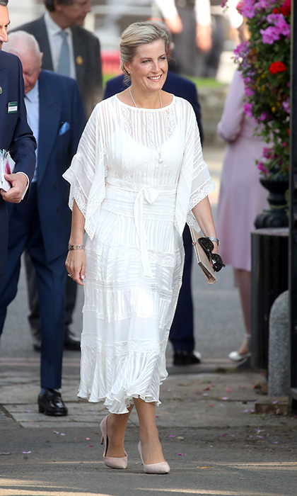 Sophie, the Countess of Wessex looked lovely in a white lace dress as she attended the Chelsea Flower Show 2018 on May 21.