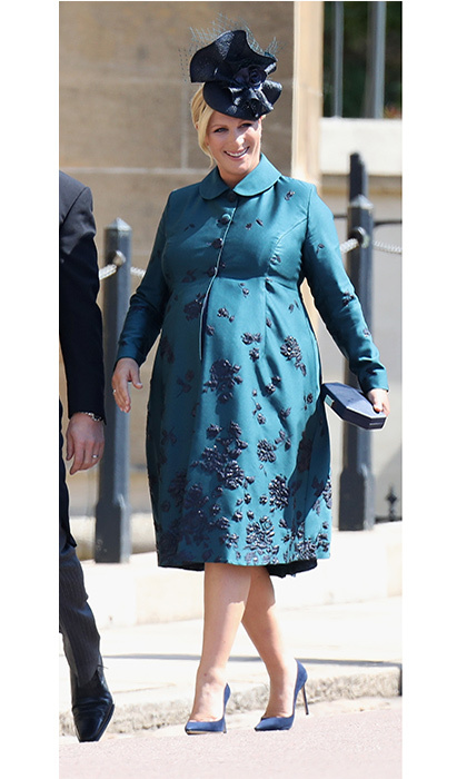 Currently expecting her second child, Prince Harry's cousin Zara Tindall was blossoming in a teal coat with floral embroidery. 