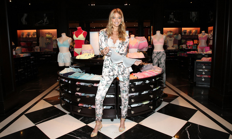 Martha Hunt showed off the latest Victoria's Secret must-have item: the t-shirt bra at their store in Santa Monica, California.
