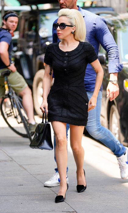 Lady Gaga wore a LBD and understated pumps while heading into a recording studio in NYC.