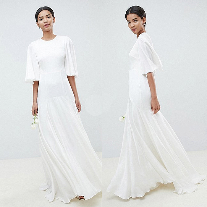 Getting the Duchess of Sussex look doesn't have to cost a fortune. This minimalist Asos Edition design with flutter sleeves and open back is just $285.